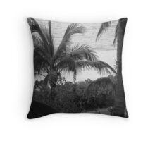 View Through The Palms BW Throw Pillow