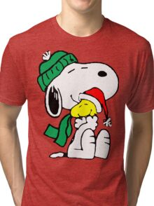 Snoopy and Woodstock Christmas Love Tri-blend T-Shirt