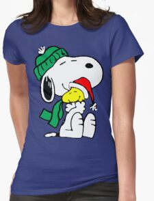 Snoopy and Woodstock Christmas Love Womens Fitted T-Shirt