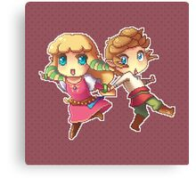 Legend of Zelda Skyward Sword: Chibi Link and Zelda (pixel version) Canvas Print