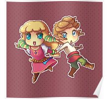 Legend of Zelda Skyward Sword: Chibi Link and Zelda (pixel version) Poster