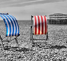 Red White And Blue - Brighton Beach  by Colin J Williams Photography