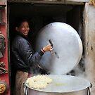 Momo stall in Bakhtapur by MichaelBr