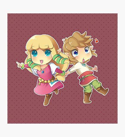 Legend of Zelda Skyward Sword: Chibi Link and Zelda Photographic Print