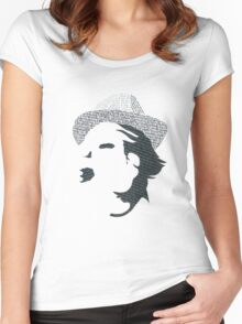 Typography Portrait Women's Fitted Scoop T-Shirt