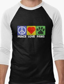 Peace Love Paws Men's Baseball ¾ T-Shirt