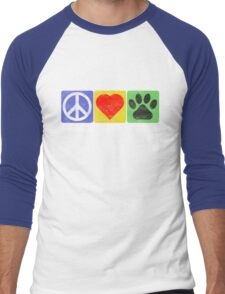 Peace Love Paws Men's Baseball ¾ T-Shirt
