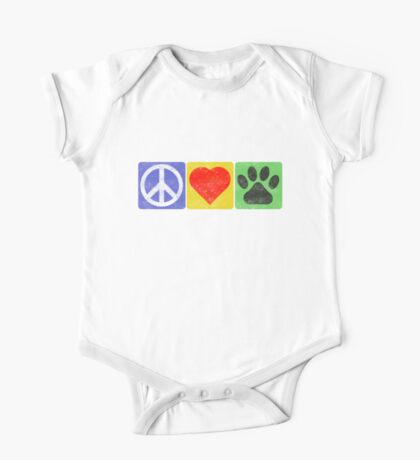 Peace Love Paws One Piece - Short Sleeve