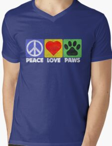 Peace Love Paws Mens V-Neck T-Shirt