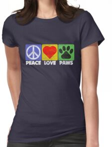 Peace Love Paws Womens Fitted T-Shirt