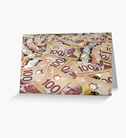100 Canadian dollar banknotes. Greeting Card