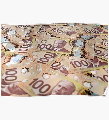 100 Canadian dollar banknotes. Poster