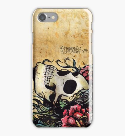 Spanish Rose Skull Tattoo iPhone Case/Skin