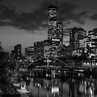 Melbourne & the Yarra River at night looking west. by Nicholas Griffin