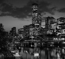 Melbourne & the Yarra River at night looking west. by Nick Griffin