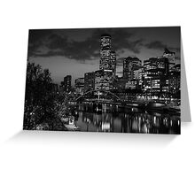 Melbourne & the Yarra River at night looking west. Greeting Card