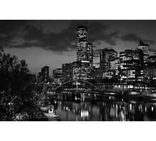 Melbourne & the Yarra River at night looking west. Photographic Print