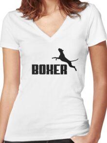 Boxer (black) Women's Fitted V-Neck T-Shirt