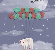 Merry Christmas Balloons Carrying a Happy Pig by Amy Hadden