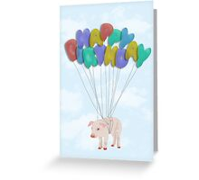 Happy Birthday Pig with Balloon Words Greeting Card