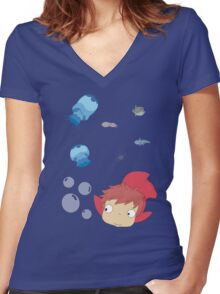 Ponyo Bubbles Women's Fitted V-Neck T-Shirt