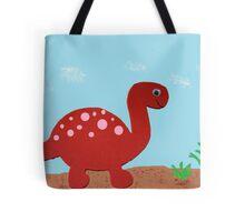 Dinosaur-Red Brontosaurus Tote Bag