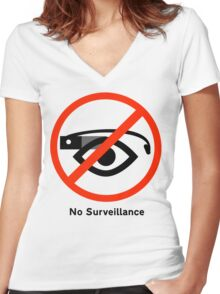 No surveillance sign Women's Fitted V-Neck T-Shirt