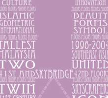 'Wordy Structures' Petronas Towers Purple Sticker