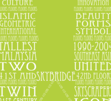 'Wordy Structures' Petronas Towers Green Sticker