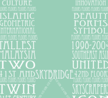 'Wordy Structures' Petronas Towers Sticker
