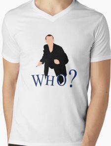 """WHO?"" Ninth Doctor T-Shirt Mens V-Neck T-Shirt"