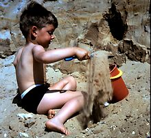 Boy with bucket and spade June 1966 by AndyLanhamArt