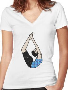 Bow Pose Women's Fitted V-Neck T-Shirt