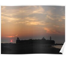 SUNSET OVER NEW BRIGHTON FORT AND LIGHTHOUSE Poster