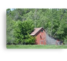 Red Barn With Lean Two Canvas Print