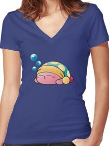 Sleeping Kirby Women's Fitted V-Neck T-Shirt