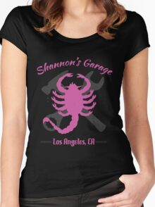 Shannon's Garage (pink) Women's Fitted Scoop T-Shirt