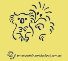 Echidna cartoon with koala - blue Kids Tee