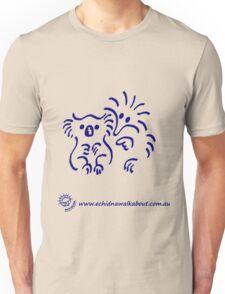 Echidna cartoon with koala - blue Unisex T-Shirt