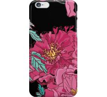 Peonies on Black Background iPhone Case/Skin