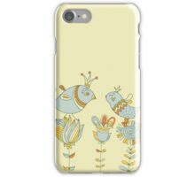 Cute retro flowers and love birds  iPhone Case/Skin
