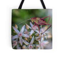 Grasshopper on Flowers Tote Bag