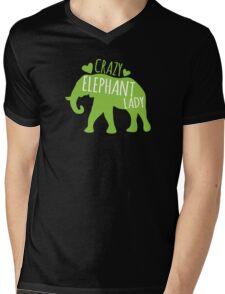 Crazy Elephant lady Mens V-Neck T-Shirt