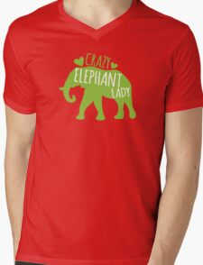 Crazy Elephant lady Mens V-Neck T-Shirt