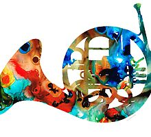 French Horn - Colorful Music by Sharon Cummings by Sharon Cummings