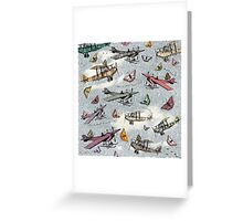 Vintage Sky - Planes and Butterflies Greeting Card