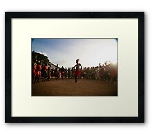 Ugandan dance circle in the dust Framed Print