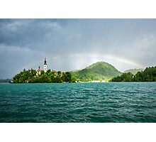 Rainbow over Lake Bled Photographic Print