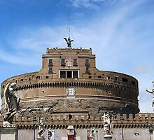 Angels on bridge and Castel Sant' Angelo, Rome, Italy by buttonpresser