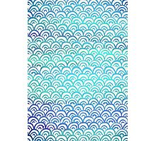 Blue Watercolor Fish Scales Pattern Photographic Print